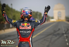 Daniel Ricciardo during the Red Bull Speed Street on the iconic Rajpath road in New Delhi, India on 1st of October 2011