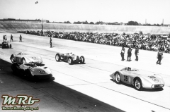 Start of the International Avus race, May 30 1937. Starting number 36: Manfred von Brauchitsch (winner of the second run) in a Mercedes-Benz streamlined racing car W 25 with a 12-cylinder engine MD 25 DAB. Star tnumber 33: Luigi Fagioli in an Auto Union streamlined car. Start number 37: Hermann Lang in a streamlined racing car W 125 with a 8-cylinder engine M 125 F. Start number 34: Rudolf Hasse in an Auto-Union. Hermann Lang won the final run of the Avus race.