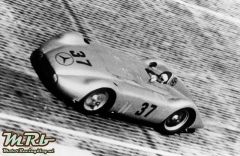 International Avus race, May, 30 1937. The winner Hermann Lang in a modified Mercedes-Benz streamlined racing car W 125, with 8-cylinder engine M 125 F, in the northern bank.